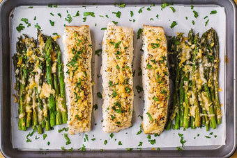 Baked Halibut and Asparagus
