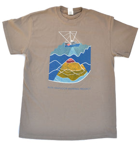 Men's Seafloor Mapping T Shirt: Rainbow Design