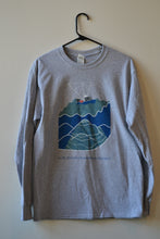 Men's Long Sleeve Seafloor Mapping Tee: Blue Design