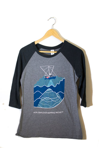 Women's Seafloor Mapping 3/4 Sleeve Shirt: Blue Design