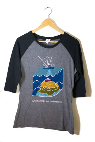 Women's Seafloor Mapping 3/4 Sleeve Shirt: Rainbow Design