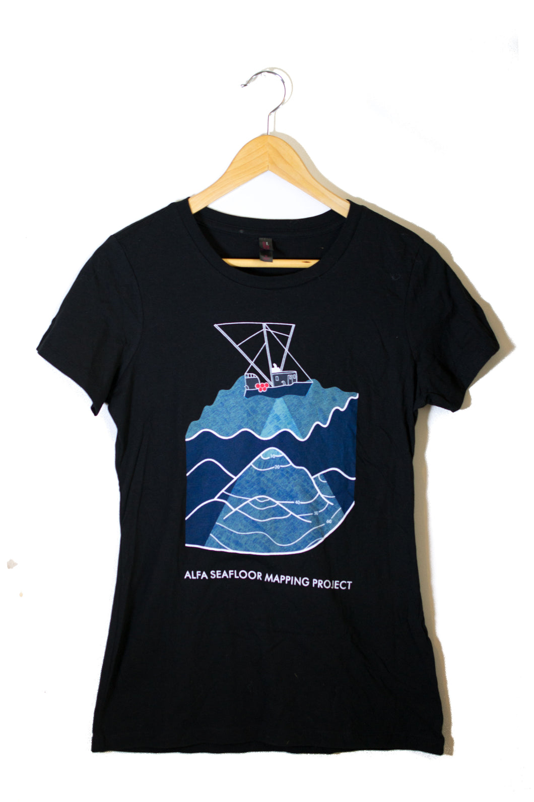 Women's Seafloor Mapping T Shirt: Blue Design