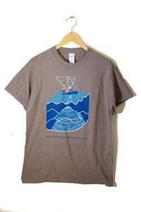 Men's Seafloor Mapping T Shirt: Blue Design