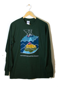 Men's Long Sleeve Seafloor Mapping Tee: Rainbow Design