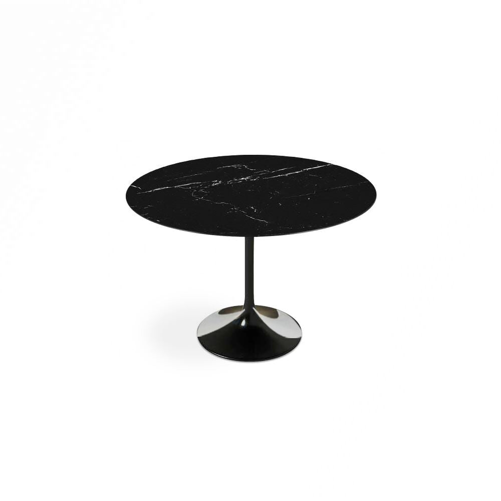 Black Carrara Marble Tulip Dining Table - Round