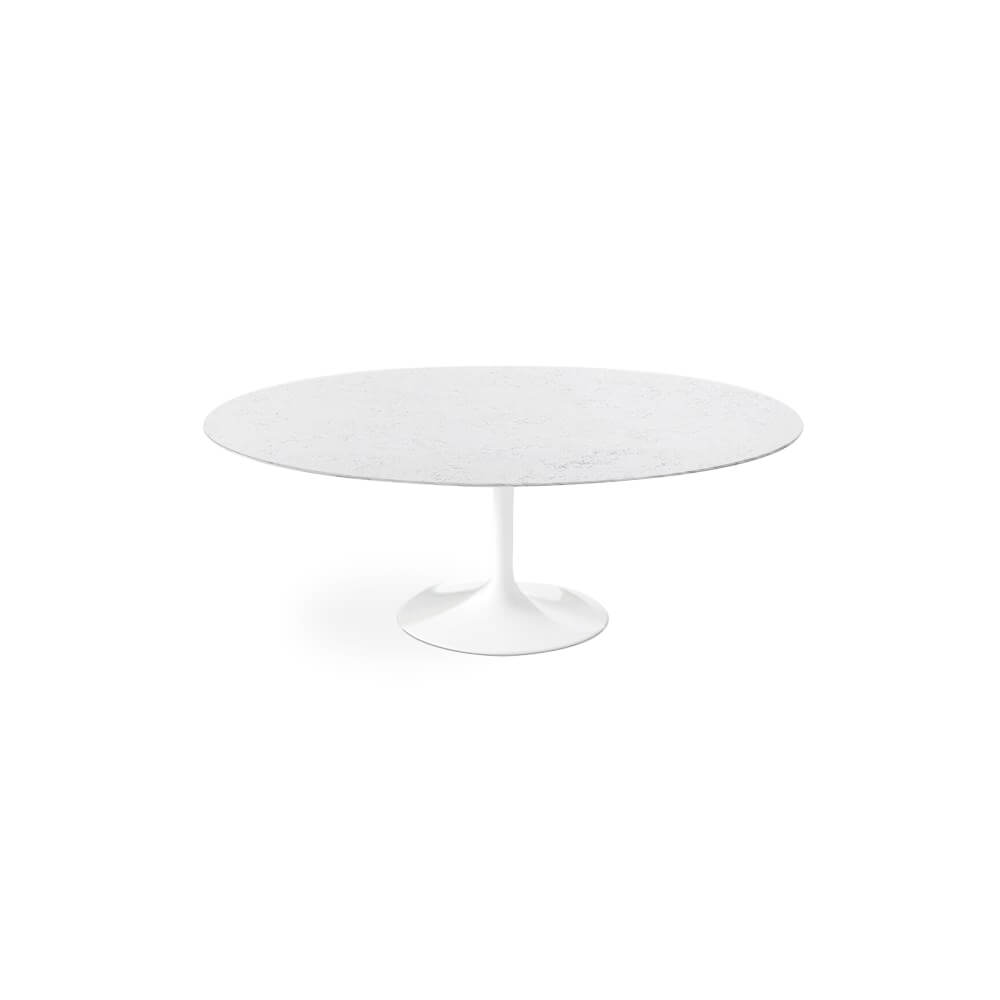 Bianca Neve Calacatta Quartz<sup>&copy;</sup> Tulip Dining Table - Oval