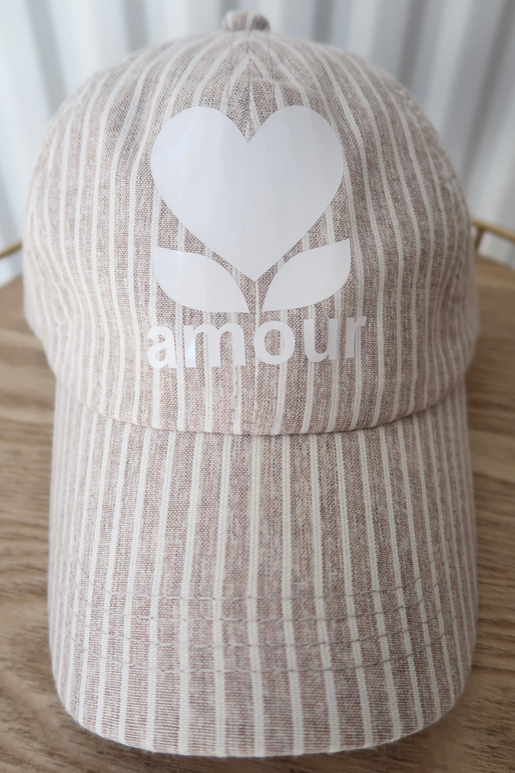 CASQUETTE AMOUR RAYURES BEIGE