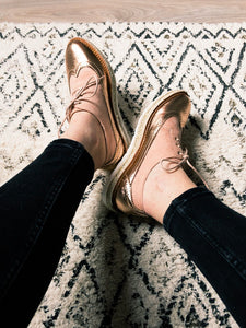 Derbies plateforme rose gold
