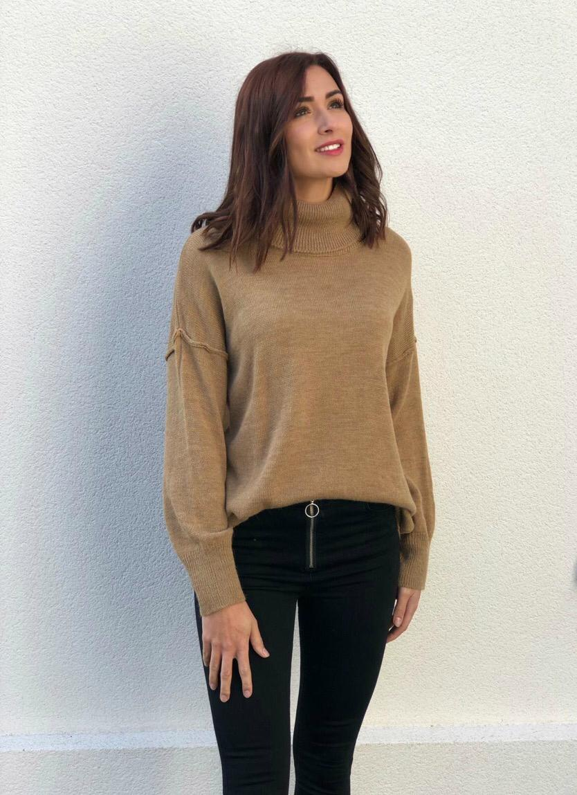 Pull col roulé Guilia camel
