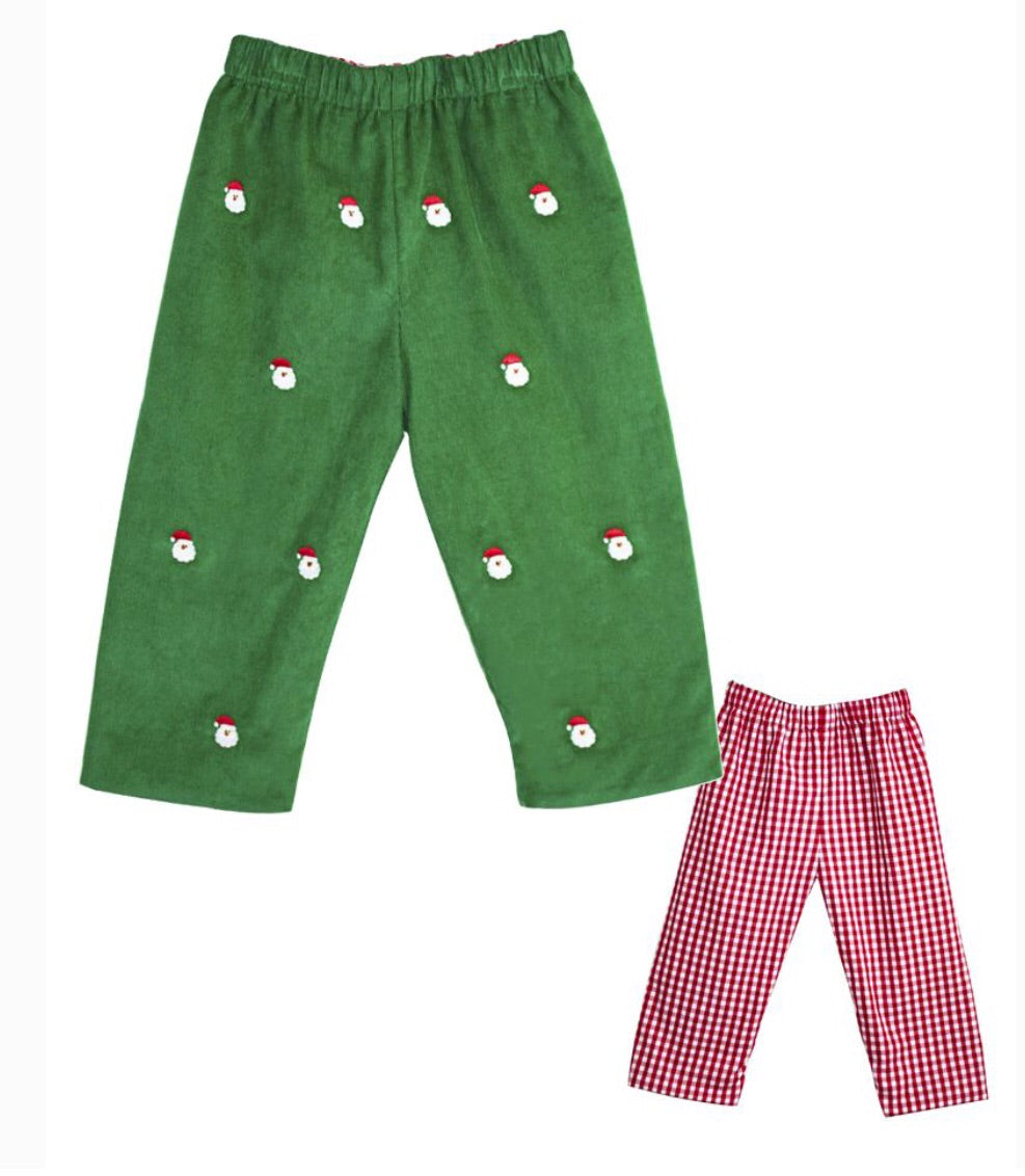 Zuccini Kids Santa Embroidered Reversible Pants in Green Corduroy