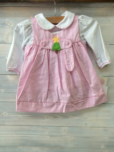 Petit Ami Christmas Tree Dress in Pink