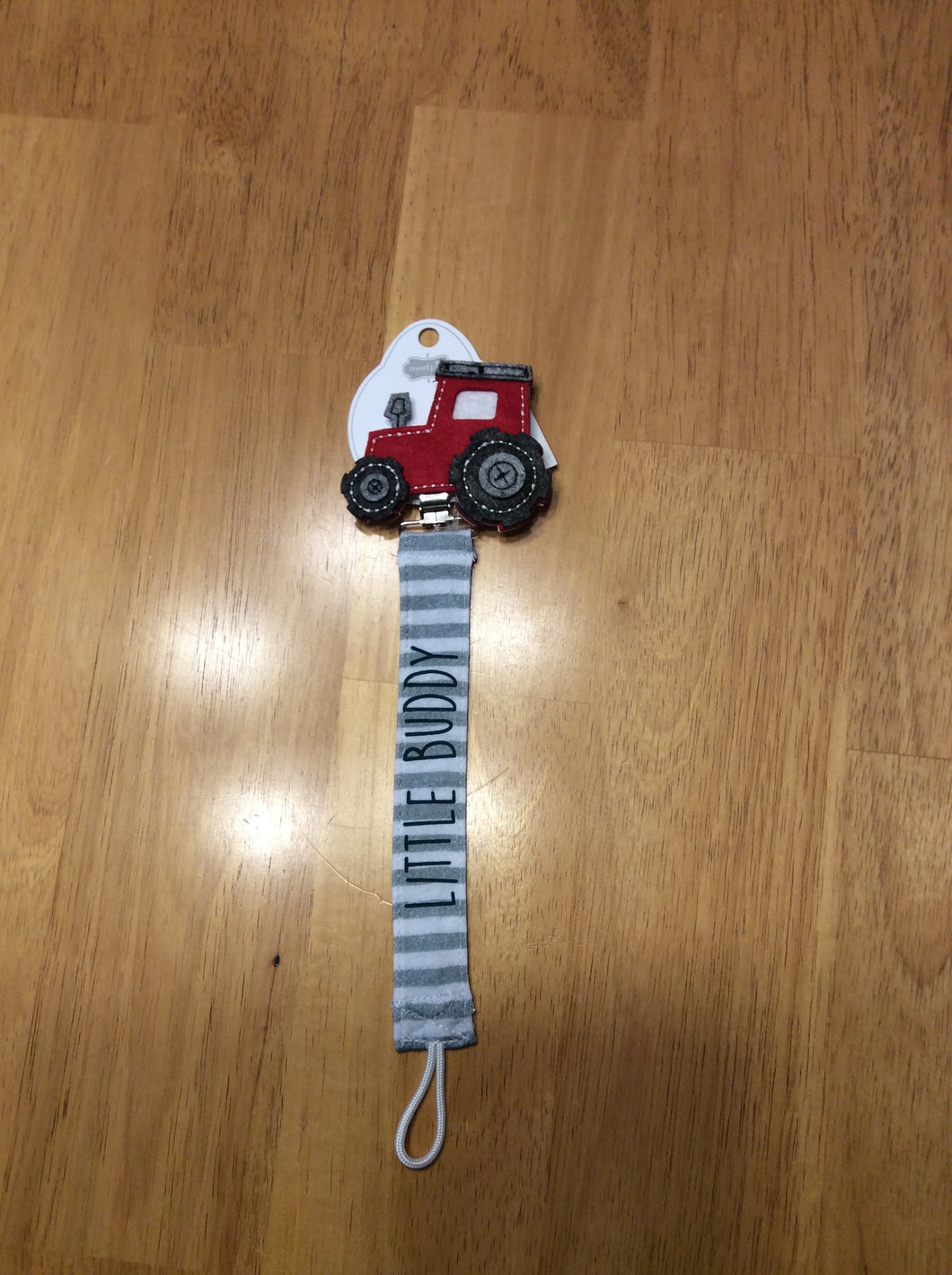 Mud Pie Pacifier Clip Little Buddy Tractor