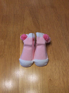 Mud Pie Socks Triple Pink Pom-Pom Cuffs