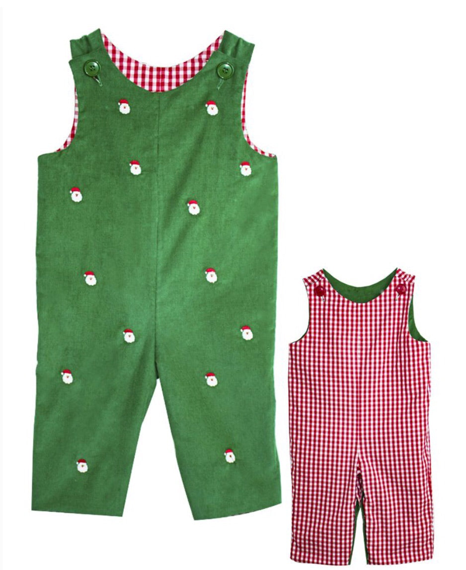 Zuccini Kids Santa Embroidered Reversible Corduroy Longall in Green
