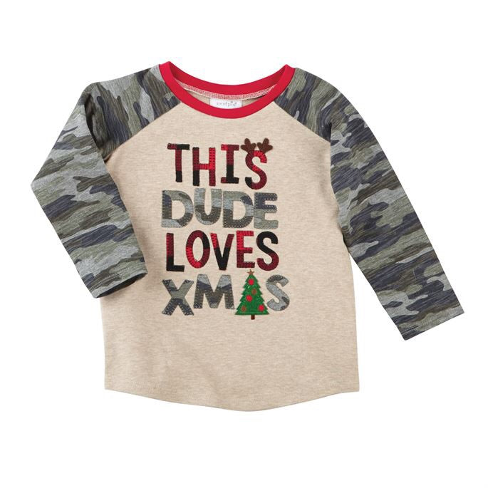Mudpie This Dude Loves Xmas Thermal Shirt