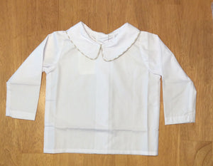 The Beaufort Bonnet Company Peter Pan Collar Shirt White Woven Long Sleeve with Khaki Gingham Trim