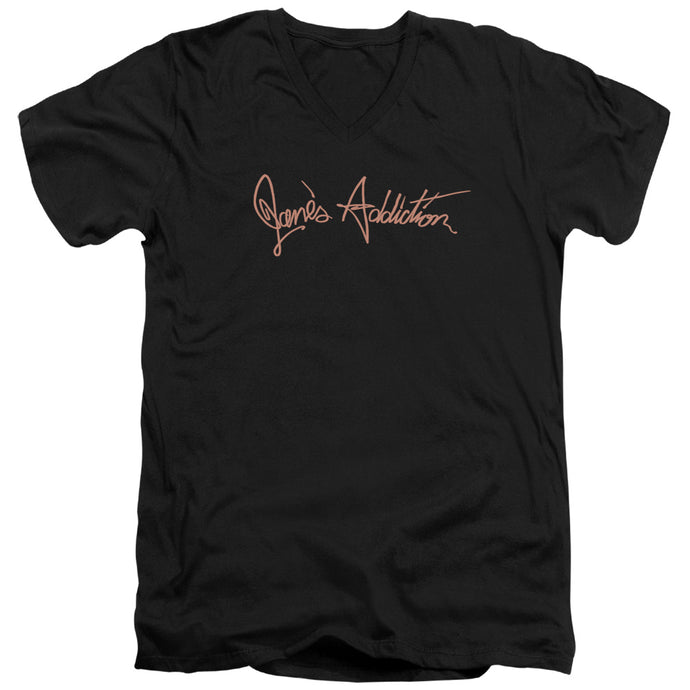 Janes Addiction - Script Logo Short Sleeve Adult V Neck Tee - Special Holiday Gift