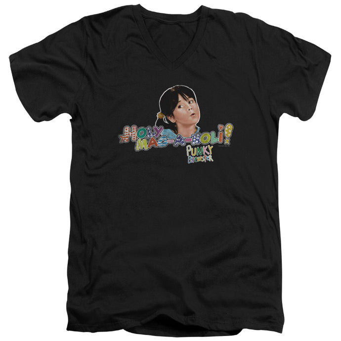 Punky Brewster - Holy Mac A Noli Short Sleeve Adult V Neck Tee - Special Holiday Gift