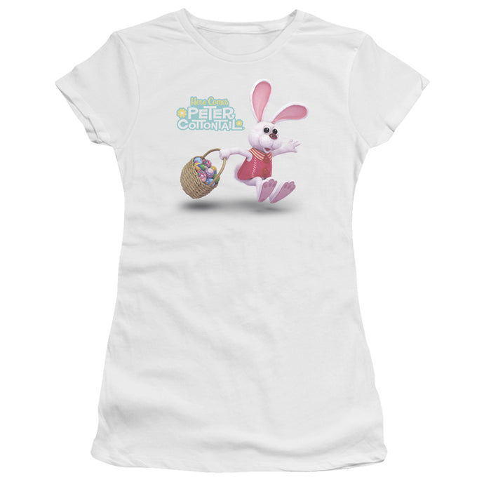 Here Comes Peter Cottontail - Hop Around Premium Bella Junior Sheer Jersey - Special Holiday Gift