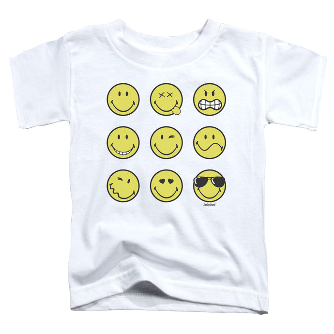 Smiley World - Nine Faces Short Sleeve Toddler Tee - Special Holiday Gift