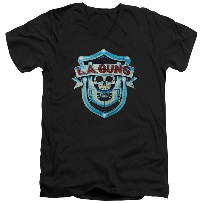 La Guns - La Guns Shield Short Sleeve Adult V Neck Tee - Special Holiday Gift