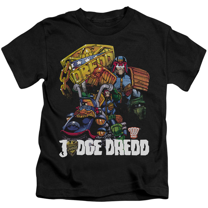 Judge Dredd - Bike And Badge Short Sleeve Juvenile 18/1 Tee - Special Holiday Gift