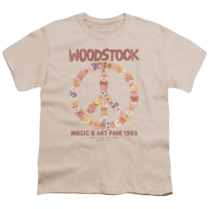 Woodstock - Floral Peace Short Sleeve Youth 18/1 Tee - Special Holiday Gift