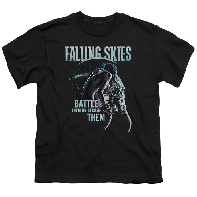 Falling Skies - Battle Or Become Short Sleeve Youth 18/1 Tee - Special Holiday Gift