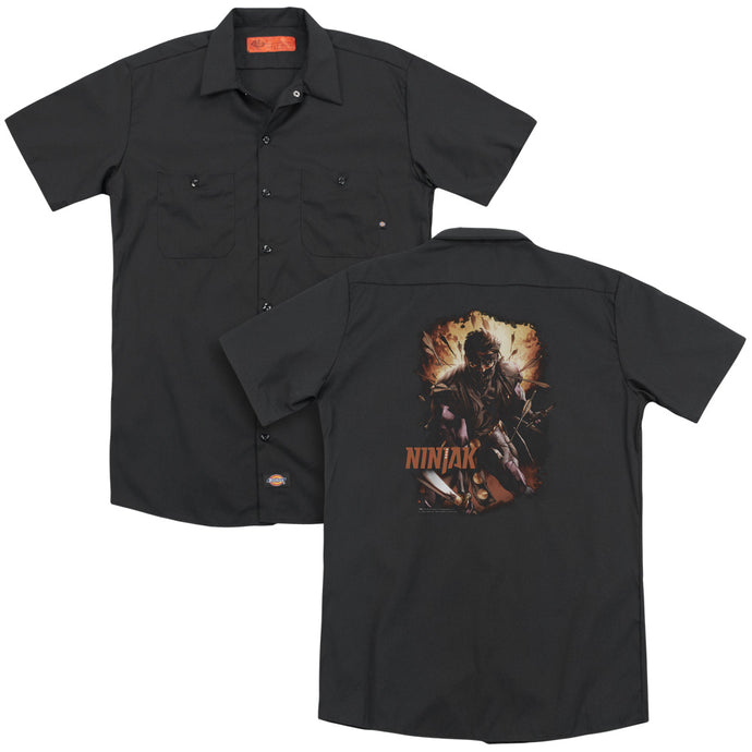 Ninjak - Fiery Ninjak(Back Print) Adult Work Shirt - Special Holiday Gift