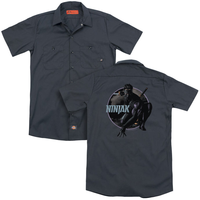 Ninjak - Crouching Ninjak(Back Print) Adult Work Shirt - Special Holiday Gift