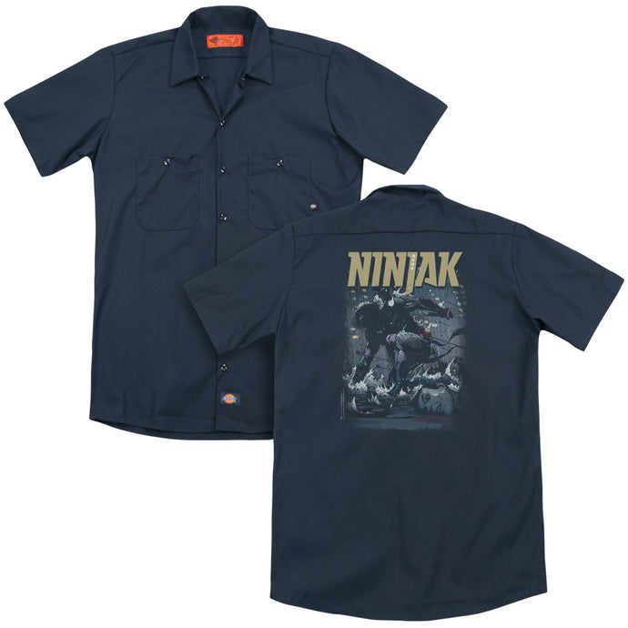 Ninjak - Rainy Night Ninjak(Back Print) Adult Work Shirt - Special Holiday Gift