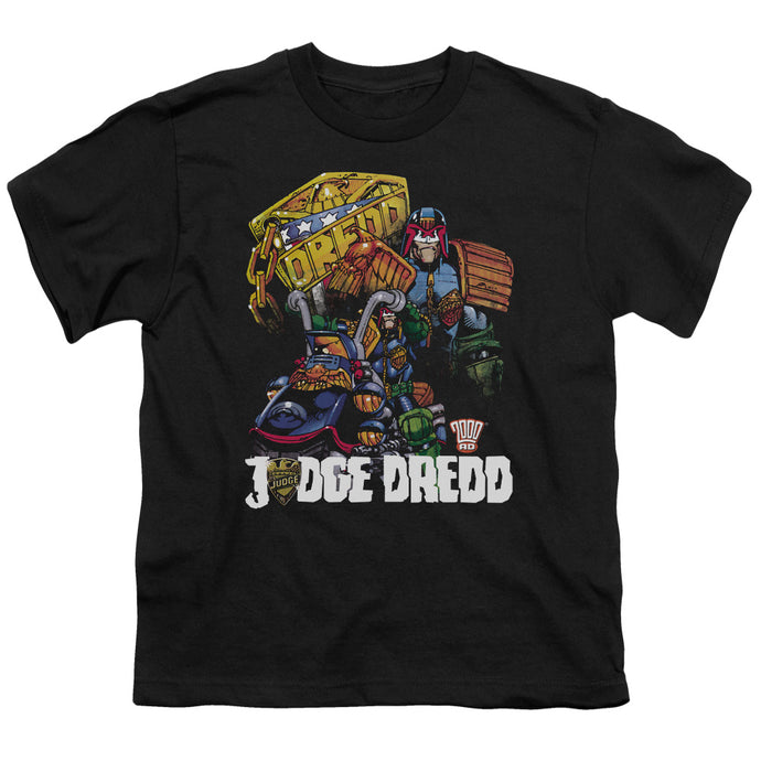 Judge Dredd - Bike And Badge Short Sleeve Youth 18/1 Tee - Special Holiday Gift