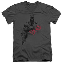 Batman - Sketch Bat Red Logo Short Sleeve Adult V Neck Tee - Special Holiday Gift