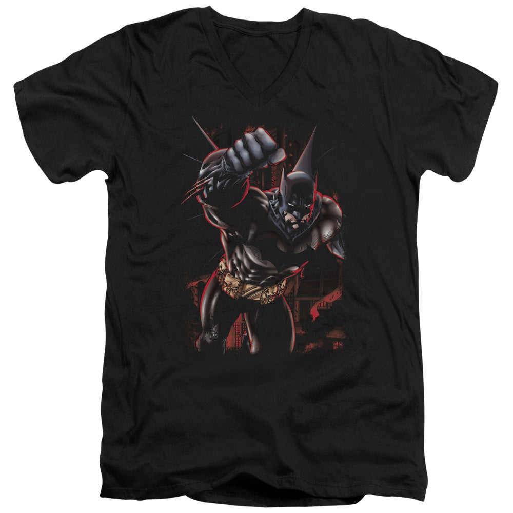Batman - Crimson Knight Short Sleeve Adult V Neck Tee - Special Holiday Gift