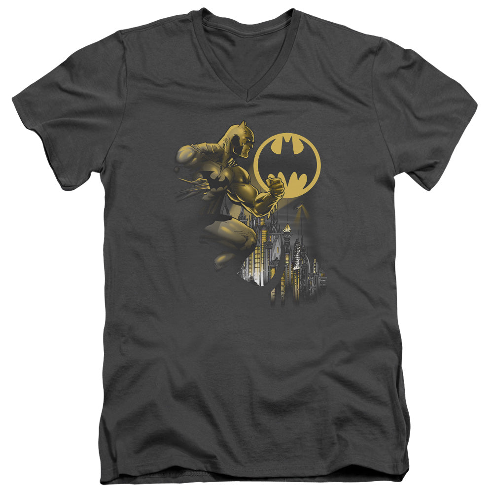Batman - Bat Signal Short Sleeve Adult V Neck Tee - Special Holiday Gift