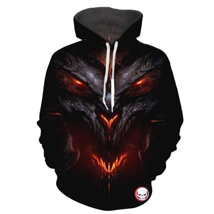 Cloudstyle Monster Hoodies Mens Pullovers 3D Print Skull Streetwear Dark Dargon Sweatshirts