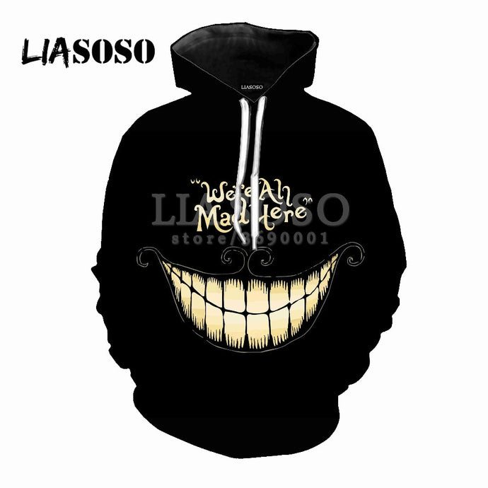 Alice In Wonderland Cheshire Cat 3D Print Women Men Hooded Hoodies Sweatshirts Pullover Harajuku Hip Hop