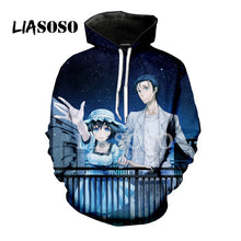 Stein Gate Makise Kurisu Okabe Rintarou 3D Print Women Men Hooded Hoodies Sweatshirts Pullover Harajuku Hip Hop