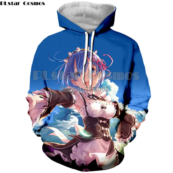 Long Sleeve Hoodies Anime Re Zero Rem 3D Print Hooded Sweatshirt Crew Neck Brand Pullovers