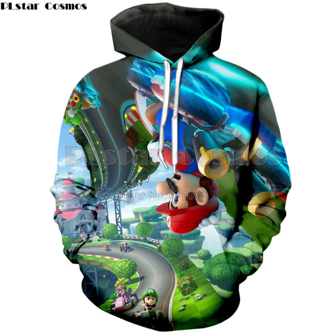 Fashion Hoodie mario kart 8 game 3d Print Men's Women's Hooded Sweatshirt
