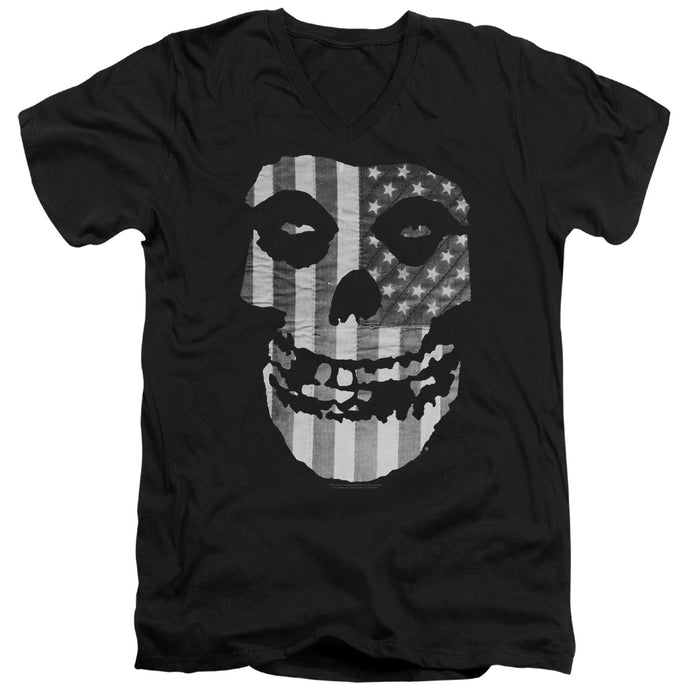 Misfits - Fiend Flag Short Sleeve Adult V Neck Tee - Special Holiday Gift