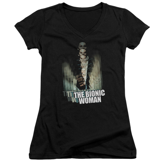 Bionic Woman - Motion Blur Junior V Neck Tee - Special Holiday Gift