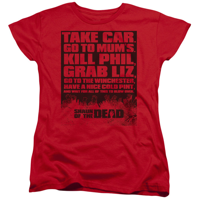 Shaun Of The Dead - List Short Sleeve Women's Tee - Special Holiday Gift