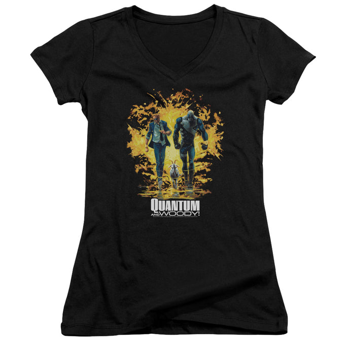 Quantum And Woody - Explosion Junior V Neck Tee - Special Holiday Gift