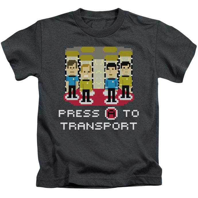 Star Trek - Press A To Transport Short Sleeve Juvenile 18/1 Tee - Special Holiday Gift