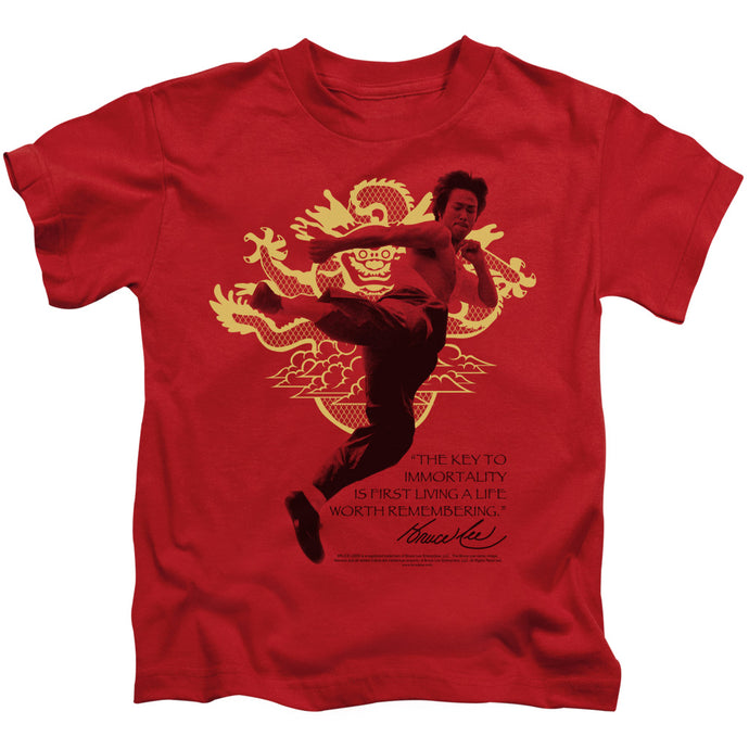 Bruce Lee - Immortal Dragon Short Sleeve Juvenile 18/1 Tee - Special Holiday Gift
