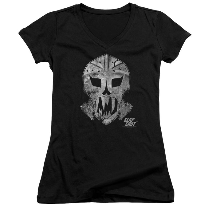 Slap Shot - Goalie Mask Junior V Neck Tee - Special Holiday Gift