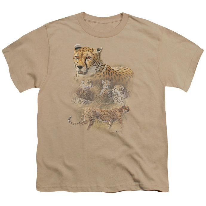Wildlife - Cheetahs Short Sleeve Youth 18/1 Tee - Special Holiday Gift