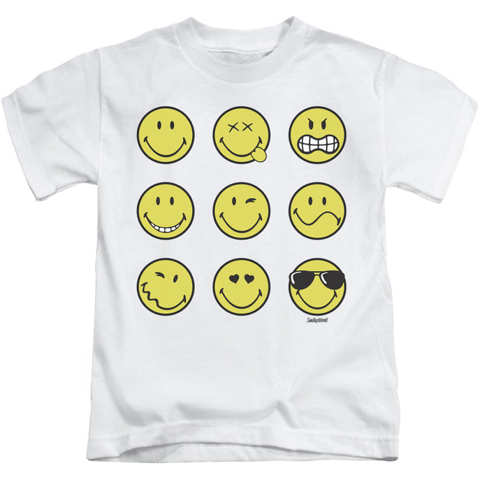 Smiley World - Nine Faces Short Sleeve Juvenile 18/1 Tee - Special Holiday Gift
