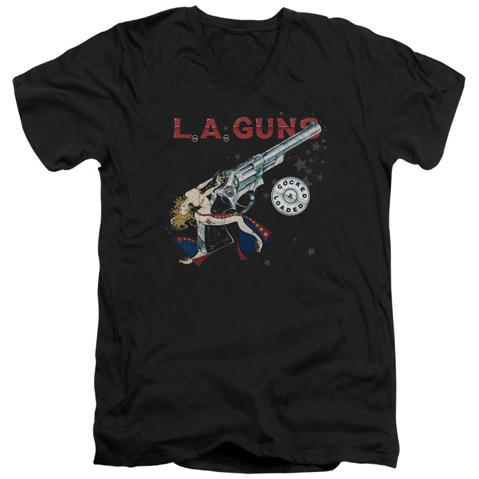 La Guns - Cocked And Loaded Short Sleeve Adult V Neck Tee - Special Holiday Gift